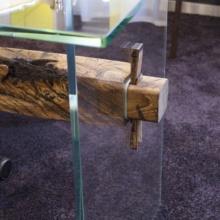 Stůl sklo a drevo